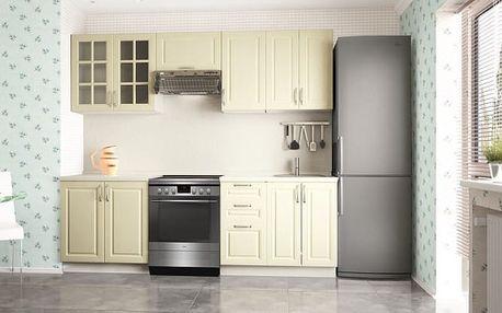 Michelle - Kuchyňský blok (bílá, smetanová, stříbrná úchytka)