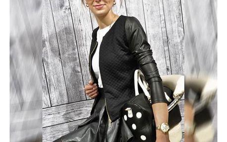 Dámská bunda s koženými rukávy - černá, velikost 3