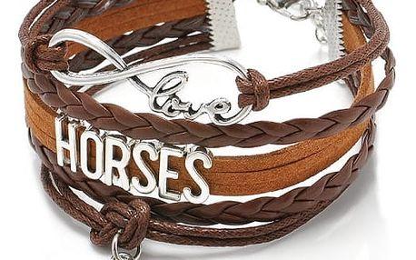 Vícevrstvý náramek s koňskými motivy