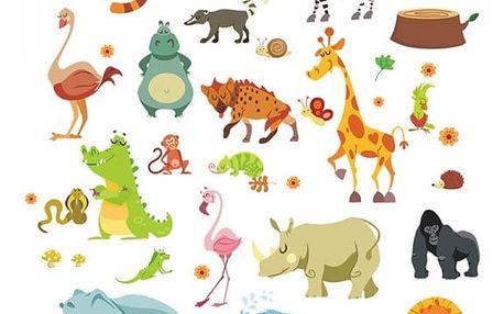 Samolepka na zeď pro děti - Zvířátka z divočiny