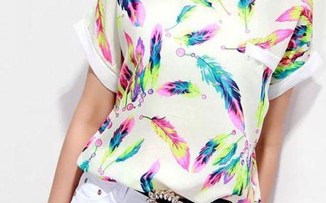 Dámské triko s barevnými pírky - S