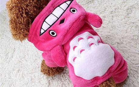 Teplý obleček s oušky pro pejsky - růžová vel. 4 - dodání do 2 dnů