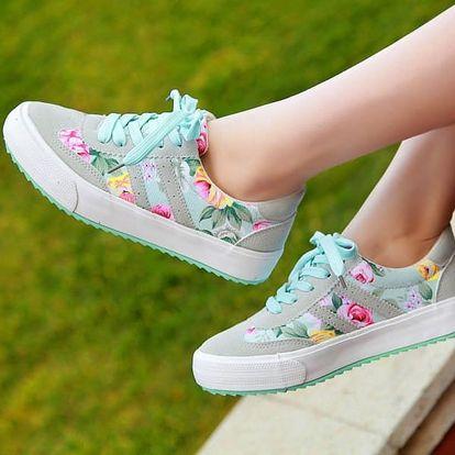 Dámské botasky s barevnými kvítky - 3 barvy