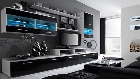 Obývací stěna Alfa - (bílá/černá)