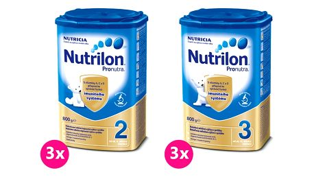 3x NUTRILON 2 ProNutra (800g) + 3x NUTRILON 3 ProNutra (800g) - kojenecké mléko