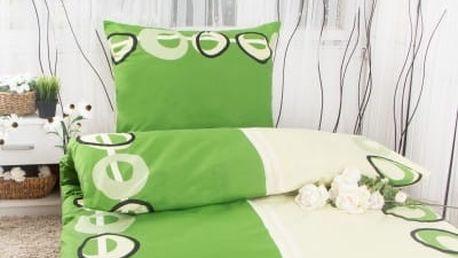 XPOSE ® Bavlněné povlečení na dvě lůžka MAGDALENA - zelená 140x200, 70x90