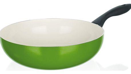 Hlíníková WOK pánev 24 x 7,3 cm zelená Banquet