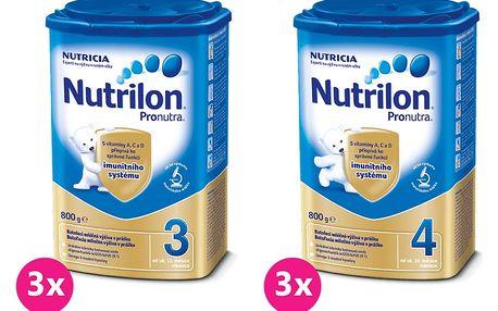 3x NUTRILON 3 ProNutra (800g) + 3x NUTRILON 4 ProNutra (800g) - kojenecké mléko