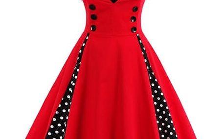 Retro šaty s puntíky - červená barva - dodání do 2 dnů