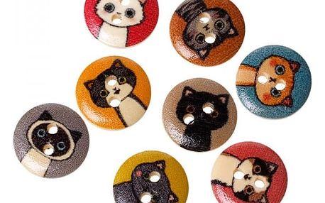 Dřevěné knoflíčky s motivem kočiček - 100 kusů