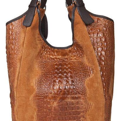 Koňakově hnědá semišová kabelka Giorgio Costa Totisa - doprava zdarma!
