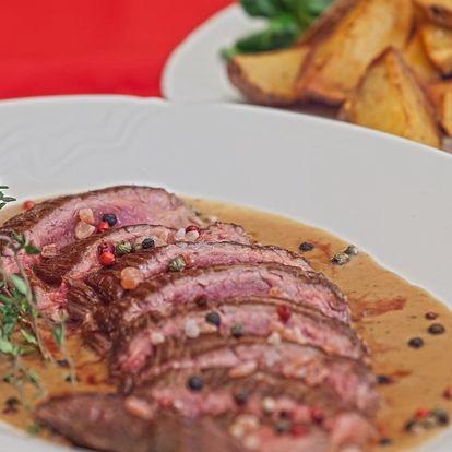 2× 250g hovězí flank steak s omáčkou a příloha