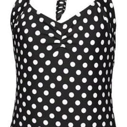 Dívčí jednodílné retro plavky s puntíky - Černá, vel. 4 - dodání do 2 dnů
