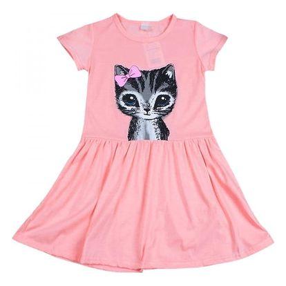Dívčí šatičky s roztomilým koťátkem - 2 barvy