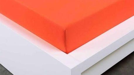XPOSE ® Jersey prostěradlo Exclusive dvoulůžko - tmavě oranžová 200x220 cm
