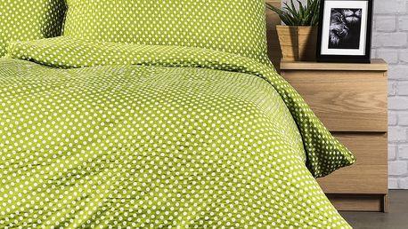 Jahu Krepové povlečení Pallas Polka zelená, 140 x 200 cm, 70 x 90 cm