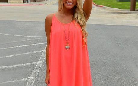 Dámské šaty plážové v pestrých barvách - oranžové, vel. 5