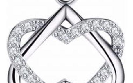 Řetízek s přívěskem - dvojité srdce s kamínkem