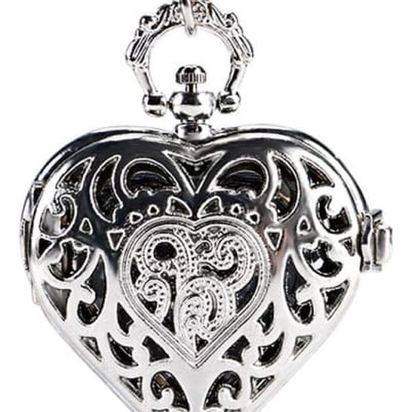 Kapesní hodinky ve tvaru srdce - stříbrná barva - dodání do 2 dnů