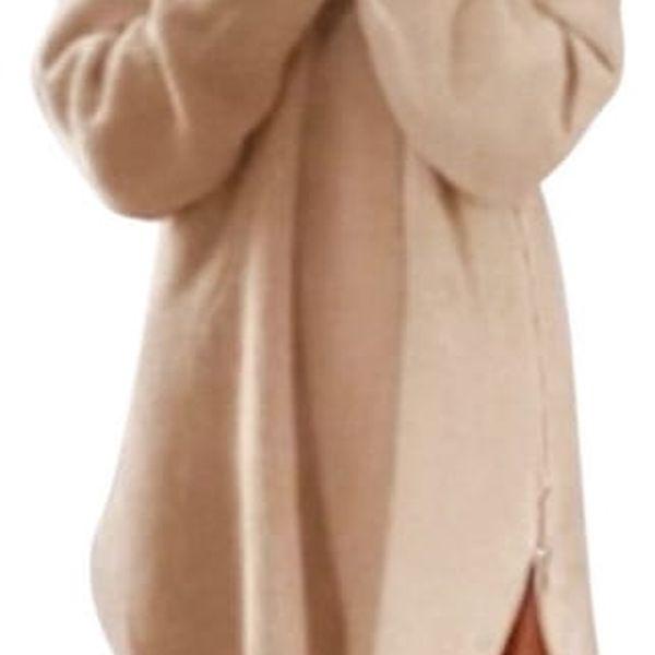 Dlouhý svetřík s postranním zipem - béžový, vel.4 - dodání do 2 dnů