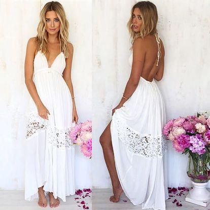 Dlouhé bílé šaty s krajkou a vykrojenými zády - vel. 4
