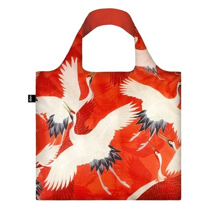 Skládací nákupní taška s kapsičkou LOQI Cranes