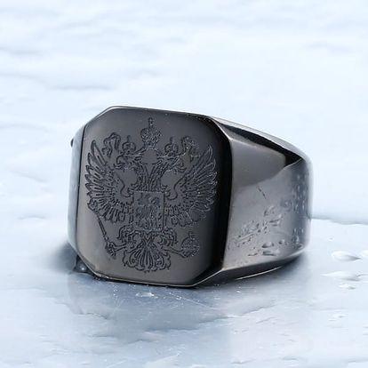 Pánský prsten se státním znakem Ruska - barva černá, vel. 13