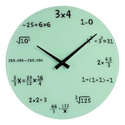 Matematické hodiny - skleněné - bílá