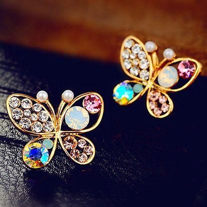 Náušnice s barevnými kamínky v podobě motýlků