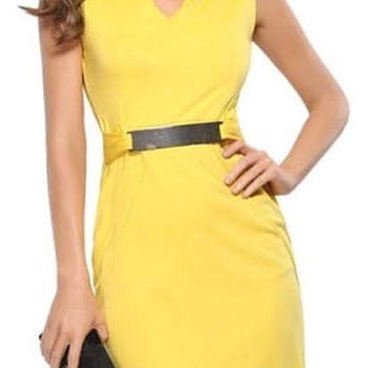 Úzké šaty s kovovými prvky - žlutá, vel. 4