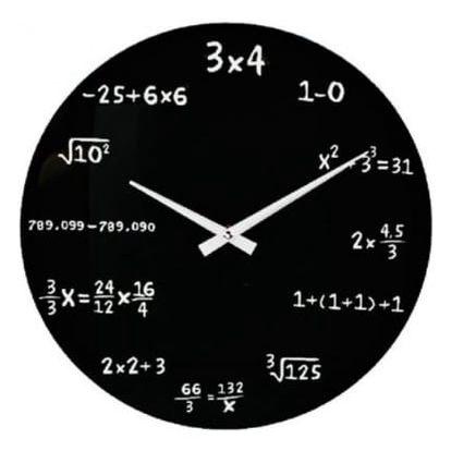 Matematické hodiny - skleněné - černá