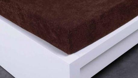 XPOSE ® Froté prostěradlo dvoulůžko - tmavě hnědá 180x200 cm