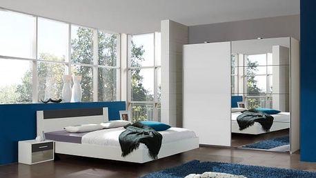 Ilona - Komplet 6, postel 180 cm (alpská bílá, antracit)