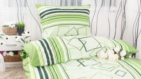 XPOSE ® Bavlněné povlečení na dvě lůžka HANA - zelená 140x200, 70x90