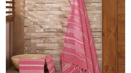 Sada červeného ručníku a osušky Hammam Sultan