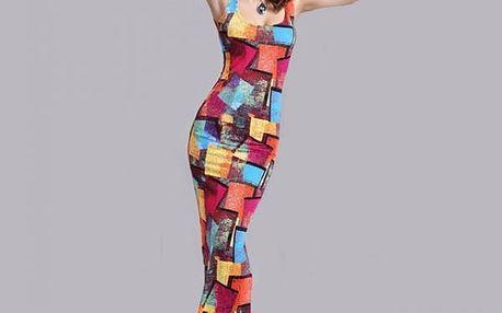 Dámské dlouhé šaty s barevnými vzory - varianta 2, velikost č. 6