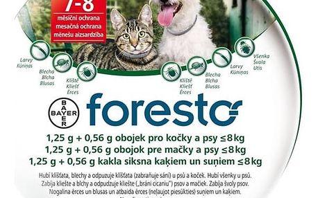Obojek Bayer Foresto 38 cm pro kočky a malé psy Svítící přívěšek Bayer Foresto kost - červený (zdarma)