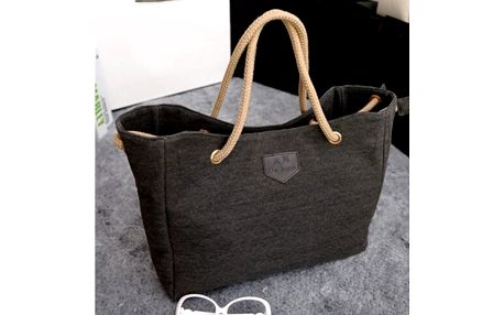 Ležérní plátěná kabelka na jaro i léto - černá - dodání do 2 dnů