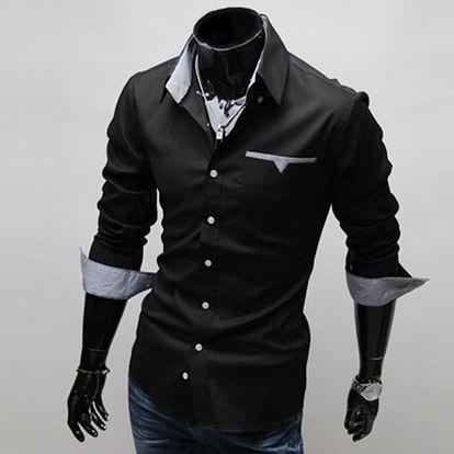 Ležérní pánská košile s kontrastní vnitřní látkou - černá, vel. 7