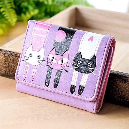 Dámská krátká peněženka se třemi kočkami - fialová