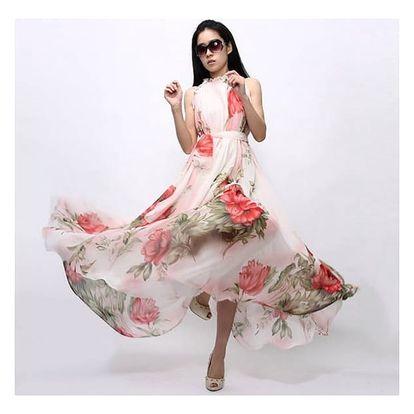 Květované dlouhé šaty na léto - velikost č. 4