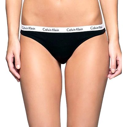 Tanga Calvin Klein Thong Strings černá s bílou gumou
