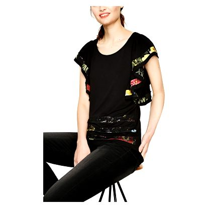Desigual černé dámské tričko Suzzi Rep