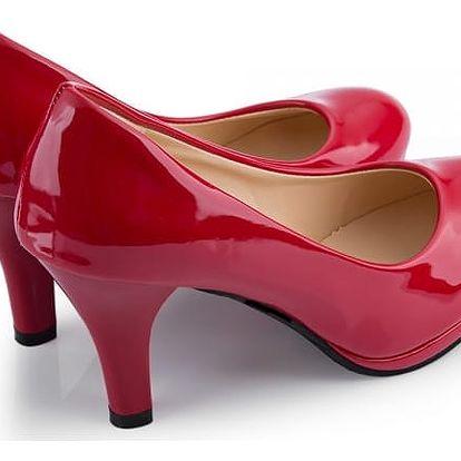 Elegantní dámské lodičky v lesklém designu - červené, vel. 39