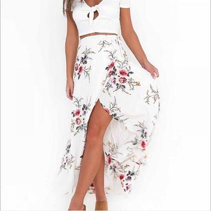 Sukně s rozparkem zdobená květinami - bílá, vel. 2