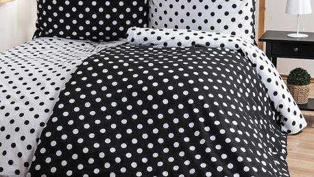 4Home Bavlněné povlečení Černý puntík, 140 x 220 cm, 70 x 90 cm