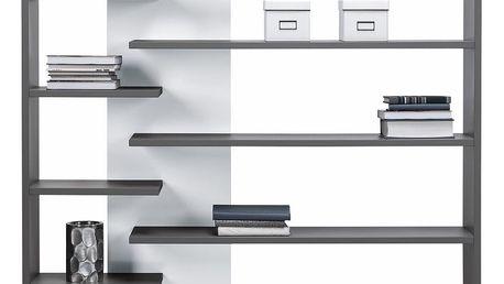 Šedo-bílá knihovna s panelem vlevo Maridex Zonda - doprava zdarma!