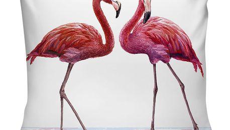 Růžovobílý polštář Home de Bleu Talking Flamingos, 43x43cm