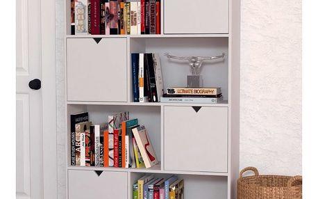 Bílá knihovna z borovicového dřeva SOB Gaudino - doprava zdarma!