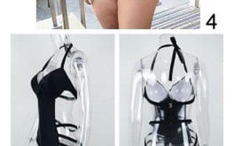 Jednodílné dámské plavky v nadměrných velikostech - černá barva - varianta 4, velikost 7